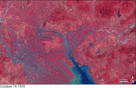 nasa照片见证珠江三角洲24年巨变(图)