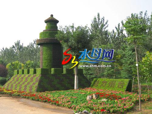 烟台山灯塔矢量图; 烟台大型植物雕塑亮相省园博会