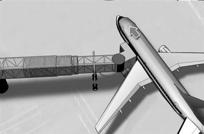 国航飞机与机场廊桥轻微接触(图)