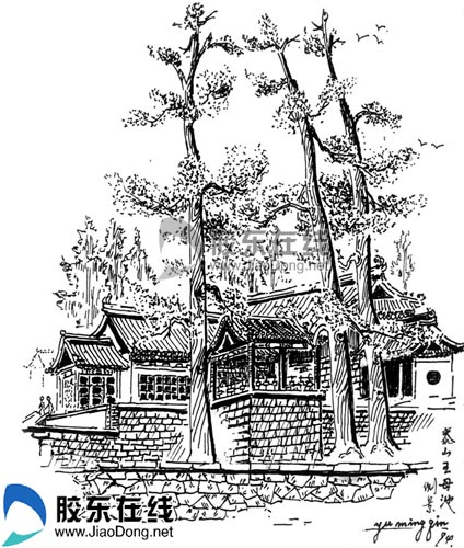 泰山王母池侧景——于铭钦钢笔速写; 欧洲建筑速写钢笔画图片下载分享