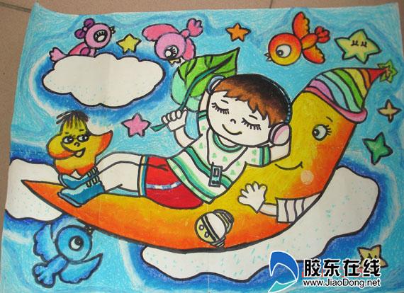 校园学生手绘彩铅凉亭