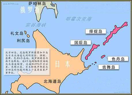 南千岛群岛(日本称北方四岛)方位图。图片来源:人民网
