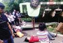 湖南植物园游览车侧翻致游客受伤 爆胎所致(图)
