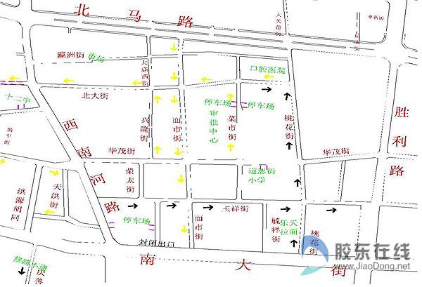 玉祥街单行线示意图