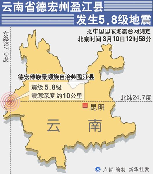 云南省德宏州盈江县发生5.8级地震新华社发.
