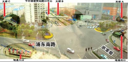 人行道和机动车道被绿色铁栏杆完全分隔开来.
