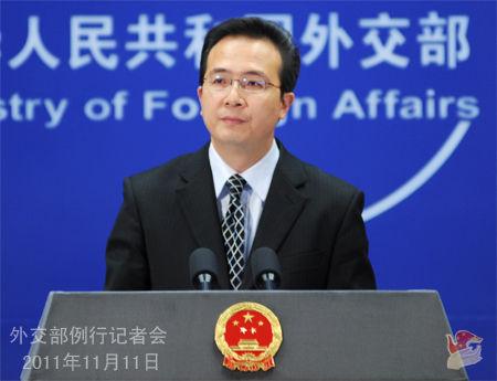 外交部微博_2011年11月11日,外交部(微博)发言人洪磊主持例行记者会.