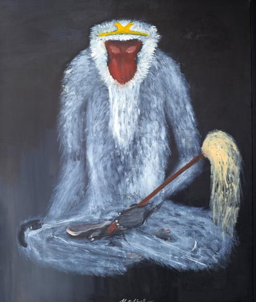 马玲油画作品-猴子系列