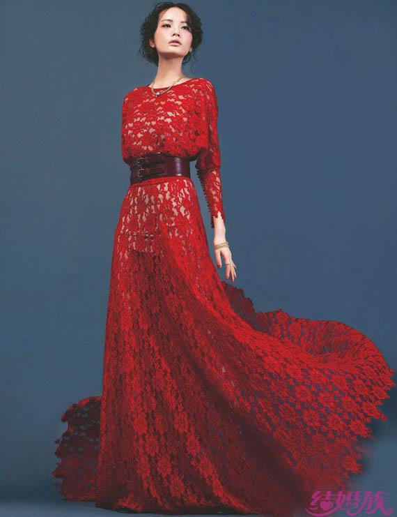 红色婚纱手绘设计图