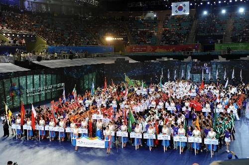 图文 亚洲室内运动会仁川开幕 各国代表团入场