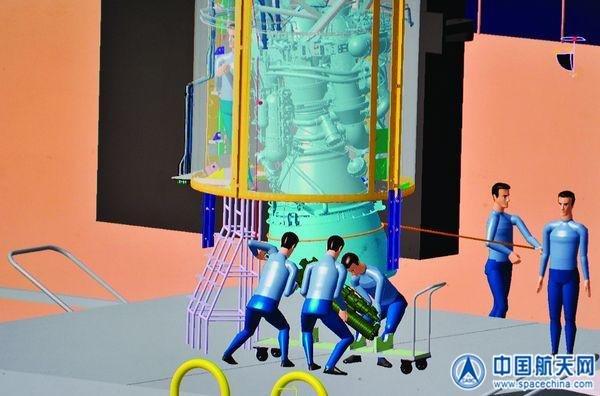 图为仿真模拟伺服机构安装(孙浩)   能否提前发现问题,对于试验进度和成败来说至关重要。近日,长征七号运载火箭助推器动力系统试车取得圆满成功。在试车前,中国航天科技集团公司一院一部8室进行了全数字化仿真试验,提前发现了火箭的伺服机构在安装中遇到的问题,使设备迅速安装完成。   8室数字化与仿真中心人员早在距离试车还有半年左右的时间,就开始进行长七火箭动力系统试车的仿真试验。长七火箭相对于其它火箭,发动机体积增大,导致其箭体内部空间狭小,留给伺服机构安装操作的空间更小。仿真试验的第一天,工作人员发现,箭体