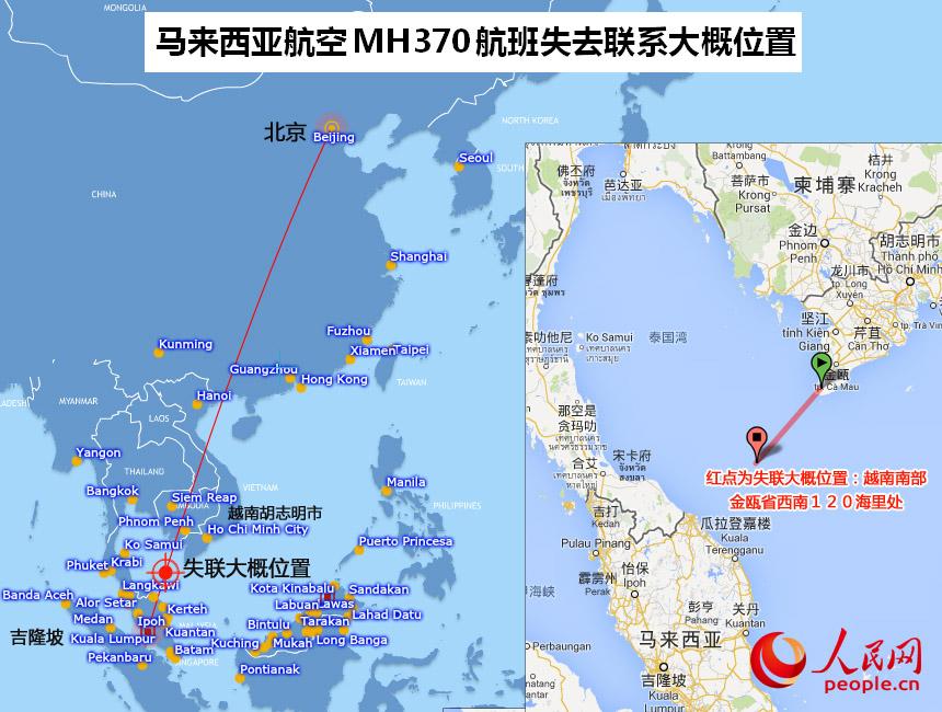 图中吉隆坡至北京的航线为马来西亚航空公司官方网站公布,右侧小图为用谷歌地图测量的大概位置。   人民网北京3月8日电(贾兴鹏)《人民日报》消息,越南海军第五军区政治处主任窦凯还大校称,飞机坠落在坚将省土珠岛153海里处,是越南马来领海交界处。越南救援队已出发。
