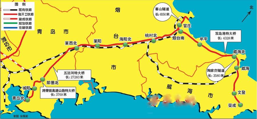 青荣城铁预计10月完工 烟台至青岛仅需1.5小时