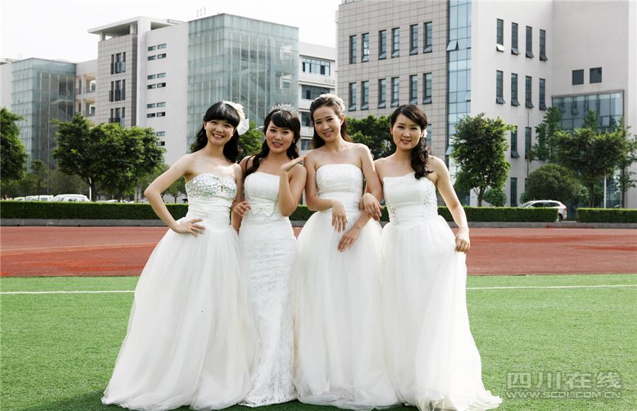 四川农业大学4位女研究生穿婚纱拍毕业照高清