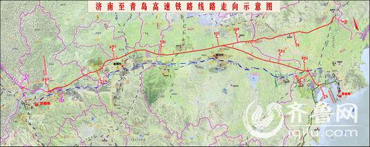 济南至青岛高铁线路走向示意图