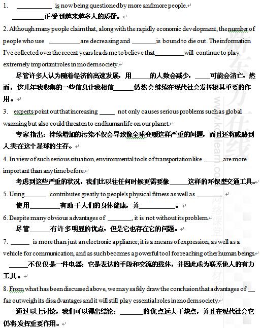 2015考研英语作文写作万能模板50句