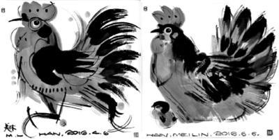 韩美林:1600幅手稿中选出丁酉鸡邮票(图)