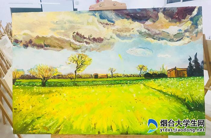 画展以纪念梵高为主题,学生们临摹《向日葵》《星空》等名作,存留了一