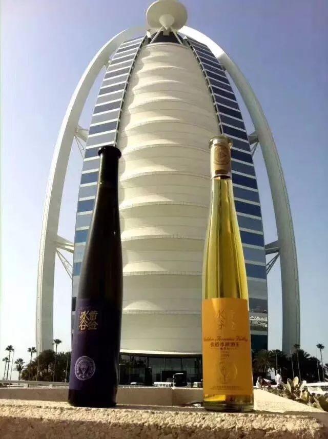 2013年,迪拜帆船酒店正式开售张裕黄金冰谷冰酒