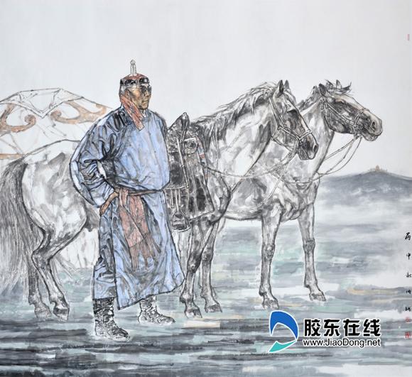 孙成河《呼伦贝尔的风》中国画186cm×200cm2016年
