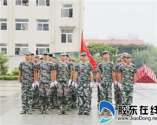 烟台城乡建设学校举行18级新生军训会操表演1