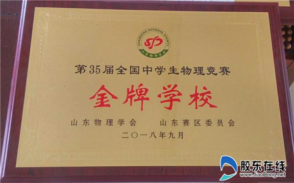 金牌学校获奖证书