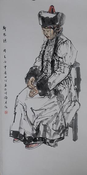 孙成河《盛装》68cm×136cm国画2016年(1)