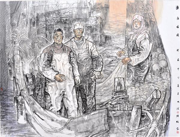 孙成河《渔舟唱晚》2014年146cm×190cm国画(1)