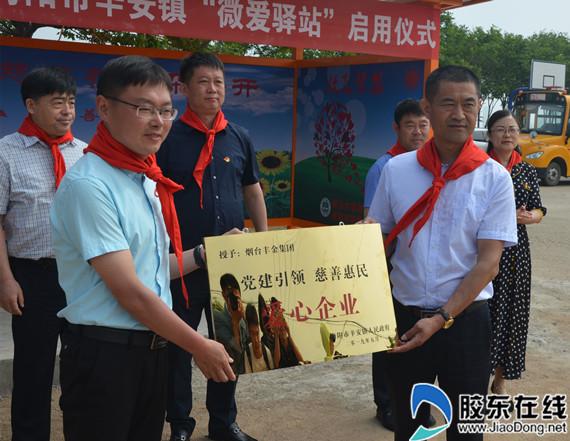 海阳市辛安镇为捐赠企业丰金集团授牌