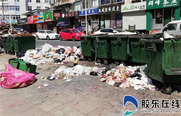 四马路家家悦东垃圾箱清理不及时 垃圾堆积如山