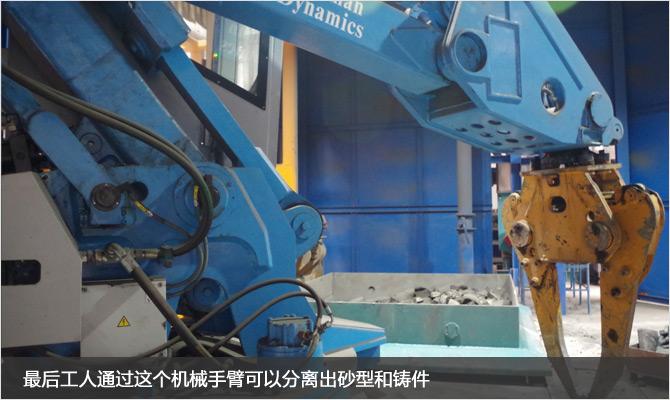 20-最后工人通過這個機械手臂可以分離出砂型和鑄件