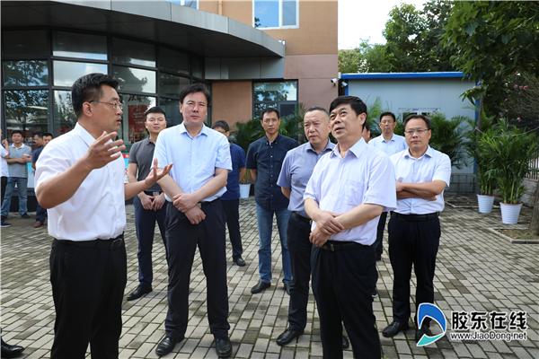 国家退役军人办事中心主任张培祥(右三)一行在莱山区退役军人办事中心参不雅观视察 (2)